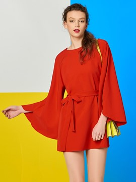 Ericdress Tie Bow Front Backless Red Blouse