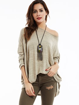 Ericdress Loose Plain Drop-Shoulder Batwing Sleeves Knitwear
