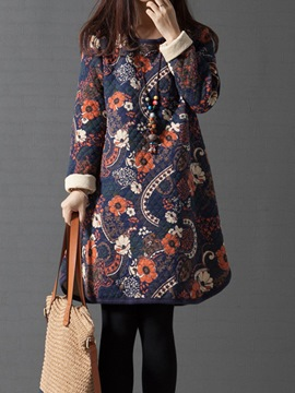 Ericdress Thickening Floral Print Hemming Casual Dress