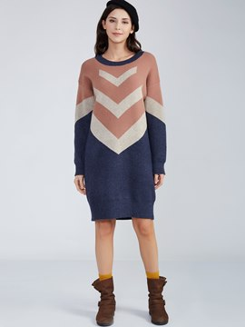 Ericdress Color Block Geometric Pattern Sweater Dress