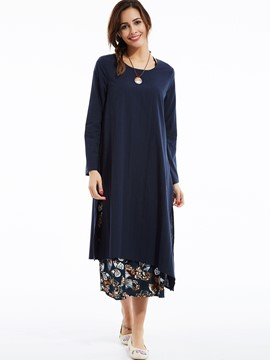 Ericdress Double-Layer Floral Plain Round Neck Expansion Casual Dress