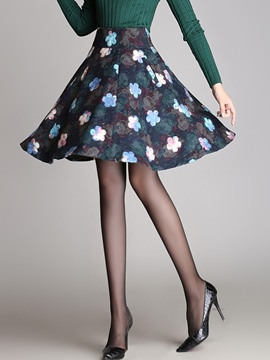 Ericdress Floral Print High-Waist Expansion Skirt