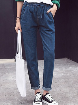 Ericdress Patchwork Lace-Up Washable Denim Harem Pants