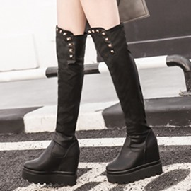 Ericdress Round Toe Rivets Knight Boots