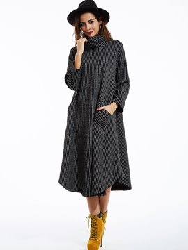 Ericdress Loose Turtleneck Striped Pocket Casual Dress