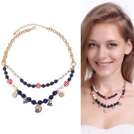 Ericdress Double Layers Colorful Beaded Necklace