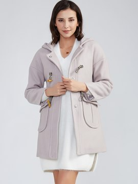 Ericdress Plain Horn Button Hooded Coat