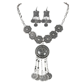 Ericdress Antique Silver Coins Design Jewelry Set