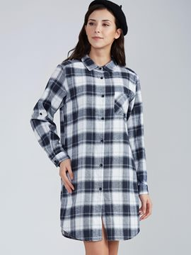 Lapel Single-Breasted Plaid Day Dress