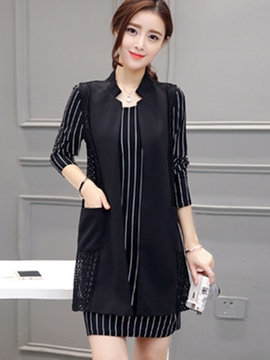 Ericdress Stand Collar Wrapped Stripe Mesh Dress Suit
