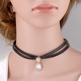 Ericdress Retro Black Leather Design Choker Necklace
