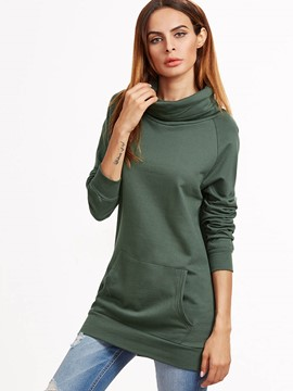 Ericdress Solid Color Slim Turtleneck Hoodie
