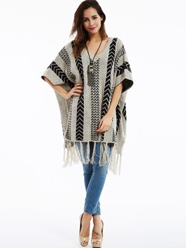 Ericdress Color Block V-Neck Tassel Lap Cape