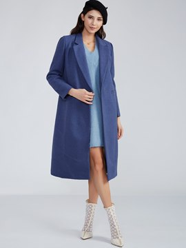 Ericdress Plain Notched Lapel Trench Coat
