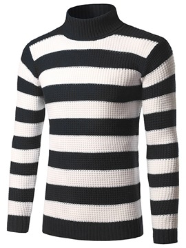 Ericdress Color Block Stripe Casual Pullover Men's Sweater
