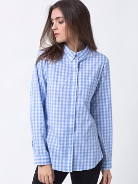 Ericdress Plaid Single-Breasted Long Sleeve Blouse