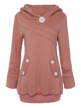 Ericdress Solid Color Buttons Slim Hoodie