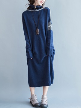 Ericdress Turtleneck Strip Patchwork Straight Sweater Dress