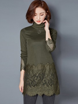 Ericdress Turtle Neck Lace Crochet Plain T-Shirt