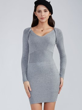 Ericdress Patchwork Plain Deep V-Neck Sweater Dress