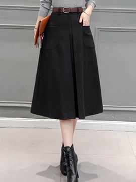 Ericdress Solid Color High-Waist Pleated A-Line Skirt