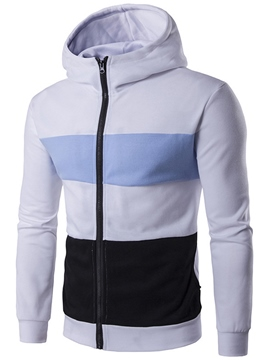 Ericdress Color Block Wide Stripe Zip Casual Men's Hoodie
