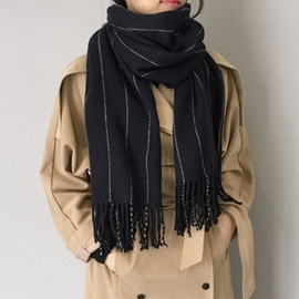 Ericdress Vertical Stripes Design Women's Tassels Scarf