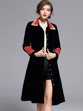 Ericdress Color Block Slim Single-Breasted Trench Coat