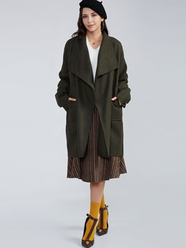 Ericdress Plain Wide Lapel Wrapped Trench Coat