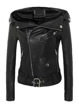 Ericdress Asymmetric Zipper Slash PU Jacket