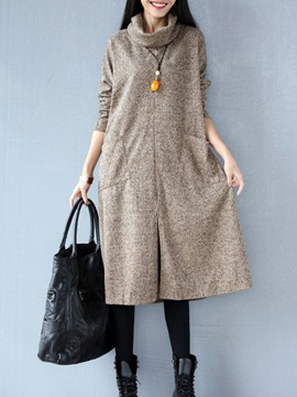 Ericdress Lapel Stylelines Pocket Split Casual Dress