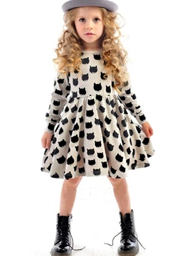 Ericdress Cute Animal Printed Girl's Long Sleeve Dress
