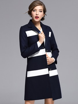 Ericdress European Elegant Color Block Coat