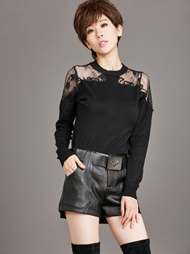 Ericdress Lace Patchwork Black T-Shirt