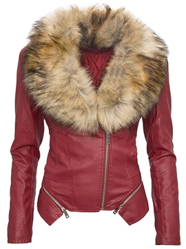 Ericdress Slim Faux Fur Collar Color Block Jacket