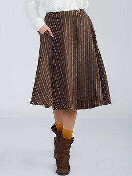 Ericdress Mid-Waist A-Line Striped Skirt