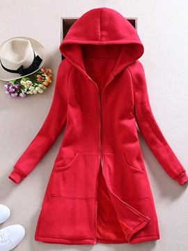 Ericdress Solid Color Slim Fleece Hoodie