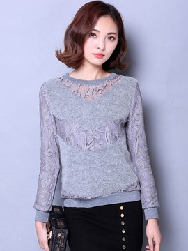 Ericedress Lace Crochet Pathwork Blouse