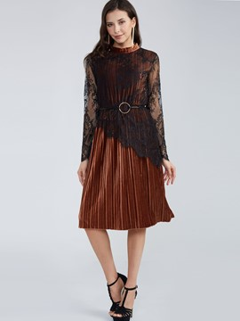 Round Neck Lace Patchwork Day Dress