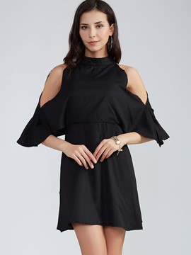 Ericdress Back Hole Plain Cold Shoulder Casual Dress