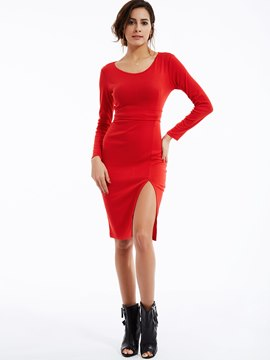 Ericdress Stylelines Plain Round Neck Bodycon Dress