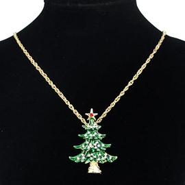 Ericdress Green Rhinestone Christmas Tree Necklace