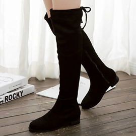 Ericdress Pretty Suede Back Lace up Thigh High Boots