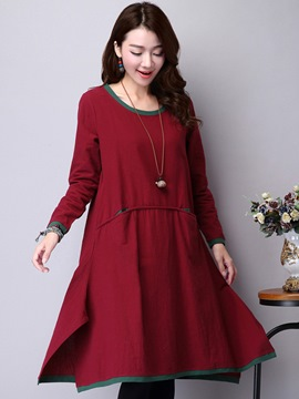 Ericdress Color Block Patchwork Asymmetrical Pleated Casual Dress