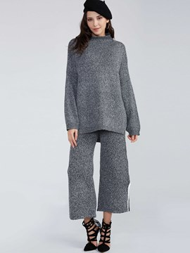 Ericdress Turtleneck Knitwear Wide Legs Pants Suit
