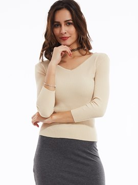 Ericdress Slim Plain Deep V-Neck Knitwear