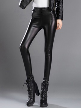 Ericdress PU High-Waist Slim Leggings Pants