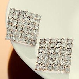 Ericdress Shining Rhinestone Quadrangle Stud Earrings