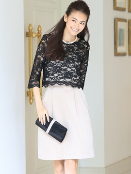 Ericdress Lace Hollow Patchwork Pleated Bud Casual Dress