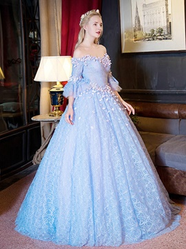 Ericdress Fairy Off-the-Shoulder Ball Gown 3/4 Length Sleeves Lace Quinceanera Dress